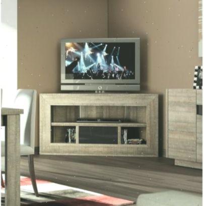 Meuble Tv D Angle Bois Et Laque Gris Moderne Fabio Tv Cabinets