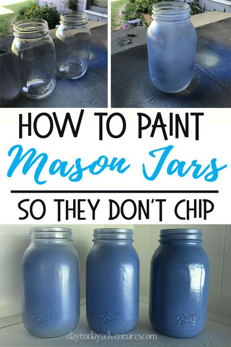 How to paint mason jars so they don't chip. Also learn how to make Bless You Jar Tissue Dispensers! glass jar crafts DIY Bless You Mason Jar Tissue Dispenser — Day to Day Adventures Pot Mason Diy, Mason Jar Gifts, Pots Mason, Mason Jar Glasses, Diy Simple, Easy Diy, Mason Jar Projects, Jar Art, Ball Jars