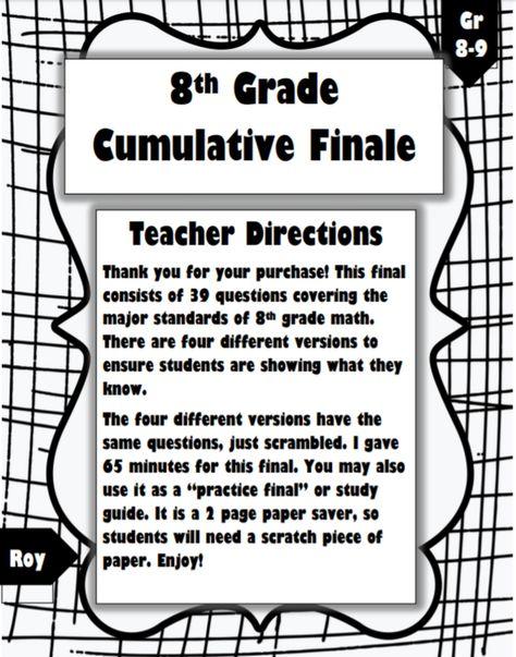 8th Grade Math Cumulative Final: 4 Versions with 39