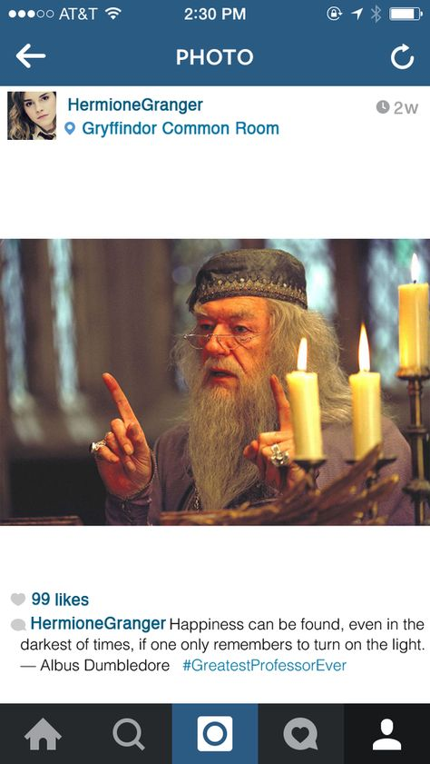 When she's feeling inspirational:   If Hermione Granger Had Instagram
