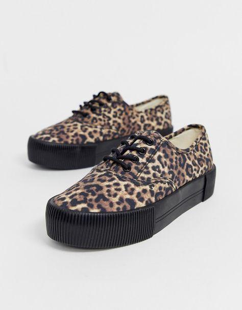 Monki flatform trainers in leopard