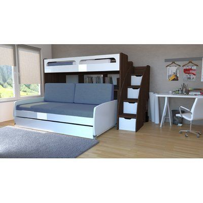 Brayden Studio Gautreau Twin Bunk Bed With Trundle Bed Frame Color Dark Wood Gloss White Deco Chambre Garcon Deco Chambre Et Chambre Garcon