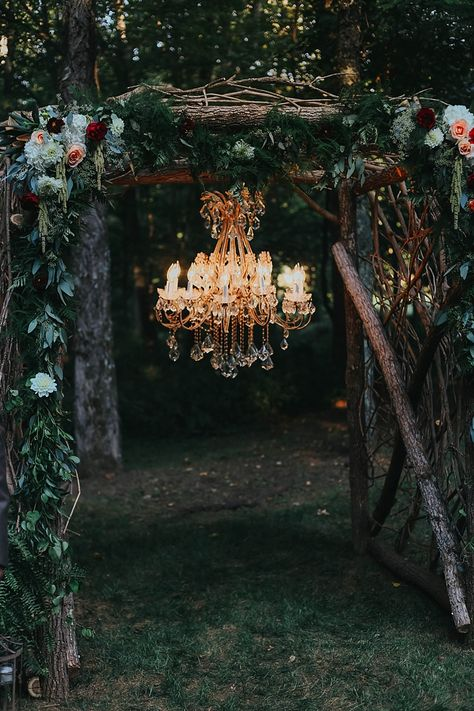 Outdoor Ceremony Wooden Floral Arch Multicoloured Flowers Greenery Chandelier Bohemian & Whimsical Garden Wedding in North Carolina www.taylorparkerp… In order … Arc Floral, Floral Arch, Enchanted Forest Wedding, Woodland Wedding, Dark Fairytale, Rustic Garden Wedding, Indoor Wedding Arches, Fall Wedding Arches, Indoor Fall Wedding