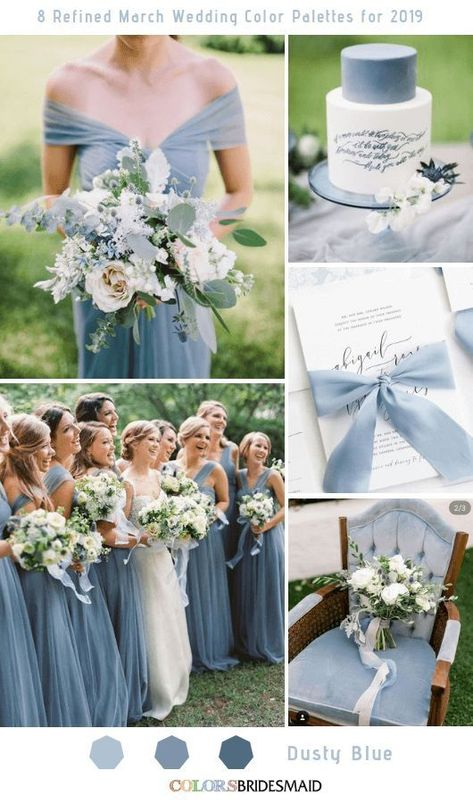 8 Refined March Wedding Color Palettes for 2019 Dusty Blue colsbm bridesmaids weddings weddingideas springwedding 566186984404289128