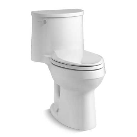Kohler K 3946 0 White Adair 1 28 Gpf One Piece Elongated Comfort Height Toilet With Aquapiston Technology Seat Included Kohler One Piece Toilets Water Sense