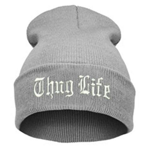 9741e9af1 THUG LIFE Letter Embroidered Unisex Beanie Fashion 2pac Hip Hop Mens &  Womens Knitted Light Gray & White Tupac Cuffed Skully Hat