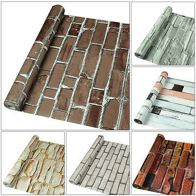 10m 3d Wallpaper Brick Stone Rustic Effect Self Adhesive Wall