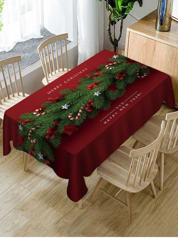 Merry Christmas Happy New Year Fabric Table Cloth With Images Christmas Table Cloth Christmas Table