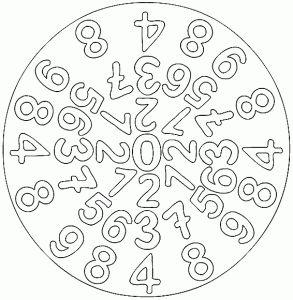 Numbers Mandala Coloring Page Mandala 1 Sinif Faaliyetler