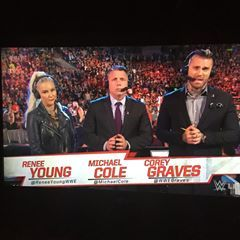 Commentary from @reneeyoungwwe @michaelcole @wwegraves is amazing tonight like always! #WWE #WWELiveCoverage #WWEUniverse #RAW #SDLive  #WWENXT #205Live #IGWC  #SethRollins #DeanAmbrose #RomanReigns #Undertaker #BraunStrowman #JohnCena #Kane #DanielBryan #SomoaJoe #SashaBanks #LukeHarper #AJStyles #Paige #CharlotteFlair #Bayley #Neville #FinnBalor #Sheamus #KevinOwens #BeckyLynch #RandyOrton  #Wrestlingmajorfan2481