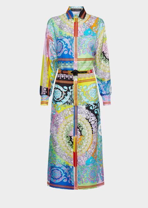 Versace Technicolor Baroque Print Silk Shirt Dress for Women