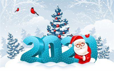 Herunterladen Hintergrundbild Frohes Neues Jahr 2020 4k Weihnachten Winter Landschaft 2020 Hintergrund Mit Santa Claus 2020 Grusskarte 2020 Konzepte Neue Frohes Neues Jahr Neujahrsgrusskarten Gluckliches Neues Jahr