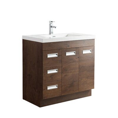 Orren Ellis Pete 35 Single Bathroom Vanity Set Base Finish Rosewood Single Bathroom Vanity Vanity Set Vanity