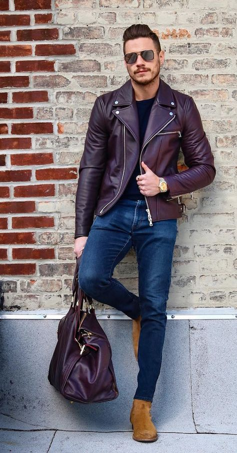 How to wear a burgundy leather jacket for men looks & outfits