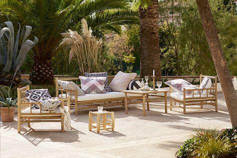 Salon de jardin ROBINSON en bambou : canapé 2 places, 2 fauteuils et ...