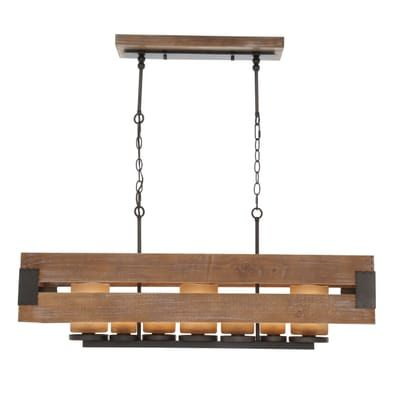 Home Decorators Collection Ackwood 7 Light Wood Rectangular