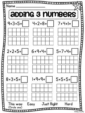 First Grade Math Unit 12 Adding 3 Numbers | Worksheets, Numbers ...
