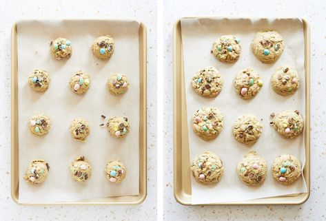 bakery style, gluten free mini egg cookies are overflowing with mini eggs. they're also gluten free and i promise you wont even be able to tell. #glutenfree #minieggcookies #minieggs #bakerystylecookies #bakerystyleglutenfreecookies