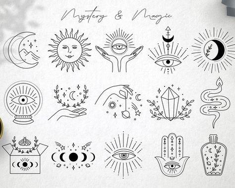 Magic icons clipart | Mystery Symbols & Signs | Celestial digital Cliparts in Vector and PNG