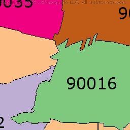 West Adams Los Angeles California Zip Code Boundary Map Ca