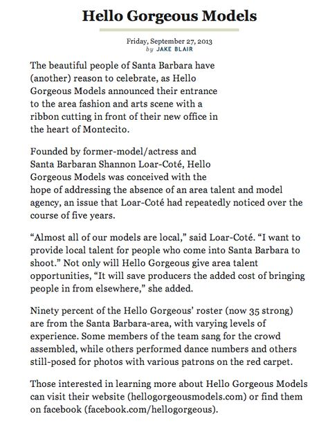Santa Barbara View write up about Hello Gorgeous Models! HGM - talent agent resume