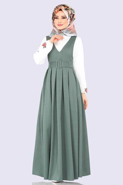 Modaselvim Elbise Pileli Kemerli Jile 607mr257 Mint Elbise Islami Giyim Kiyafet