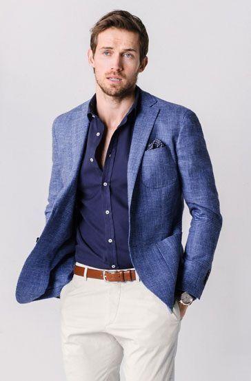 Business Casual Inspiration With A Blue Plaid Linen Blazer Navy Button Up Shirt Light Brown Leather Belt Sand T Blue Blazer Men Blue Blazer Outfit Mens Outfits