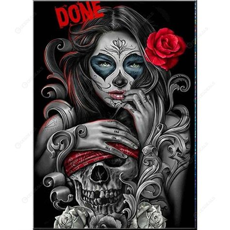 5D DIY Full Drill Diamond Painting Skull Beauty Cross Stitch Embroidery Kit