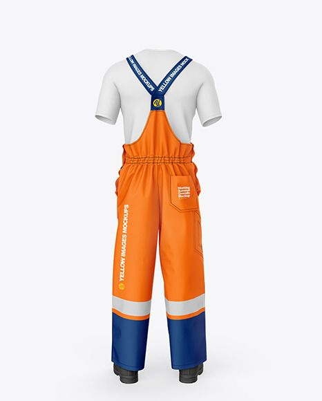 Working Summer Overalls Mockup Back View In Apparel Mockups On Yellow Images Object Mockups Clothing Mockup Summer Overalls Shirt Mockup