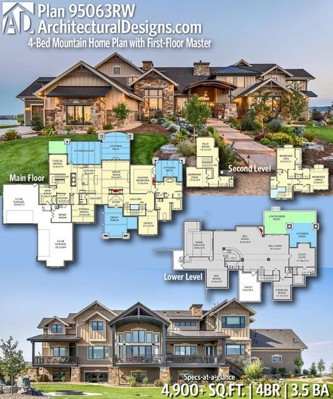 Plan 95063rw 4 Bed Mountain Home Plan With First Floor Master Mountain House Plans Dream House Plans House Plans