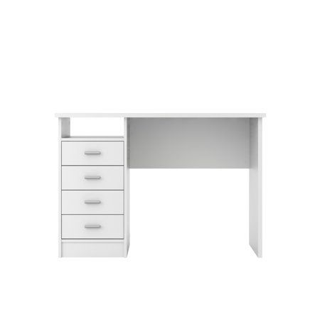 Tvilum Warner Computer Desk With Drawers White Finish Desk With Drawers White Desk Bedroom Organized Desk Drawers