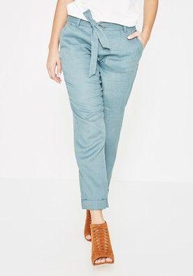 44447e1bde36d6 Pantalon en lin Femme - Vert de gris - Pantalons - Femme - Promod ...