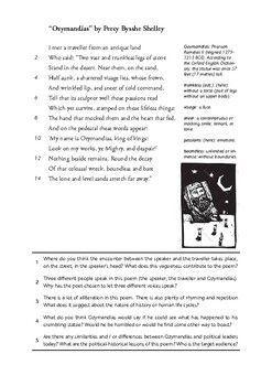 Ozymandias By P B Shelley Poem And Sonnet Worksheet Mit Bildern