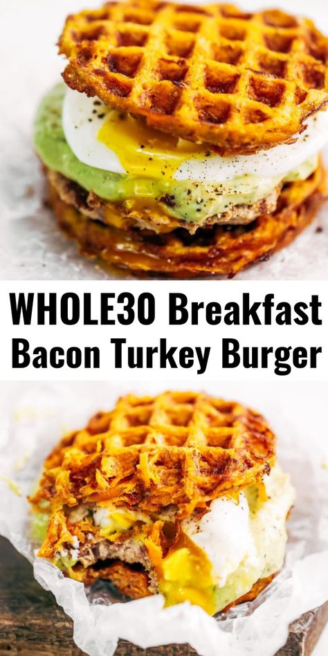 whole 30 recipes Bacon turkey burger with avocado ranch dressing and sweet potato waffles! This breakfast is easy, delicious, and filling. If youre looking for a healthy paleo breakfast burger recipe, this is it! Breakfast Burger, Breakfast And Brunch, Whole 30 Breakfast, Bacon Breakfast, Healthy Breakfast Recipes, Healthy Food, Healthy Burger Recipes, Paleo Food, Whole30 Breakfast Ideas