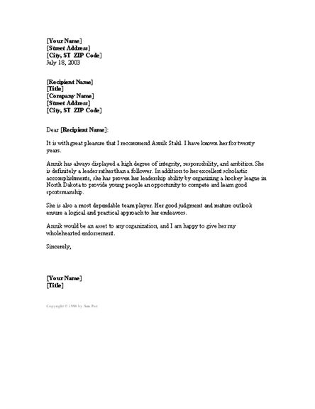 Reference Letter - sample reference letters, letters of - sample character reference letter template