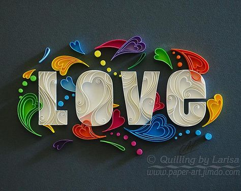 Quilling wall art Quilling art Paper quilling Love Hearts Quilling heart Wedding Anniversary Love day Handmade Decor Design Gift