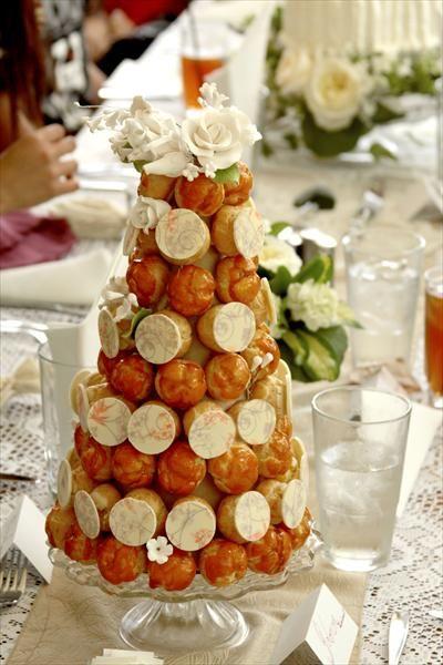 Mini Croquembouche ... a great idea for a wedding centerpiece