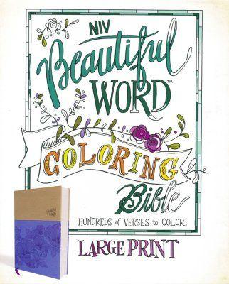 Niv Beautiful Word Coloring Bible Large Print Imitation Leather Purple And Tan Bible Coloring Beautiful Word Bible Beautiful Words