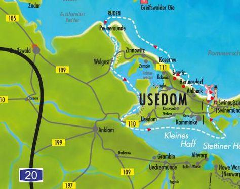 Schifffahrtsroute Um Usedom Karte Reederei Adler Schiffe