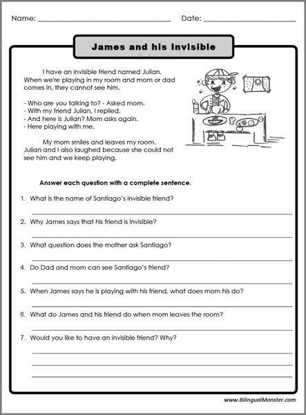Reading Comprehension Worksheets 3rd Graders #1 ...