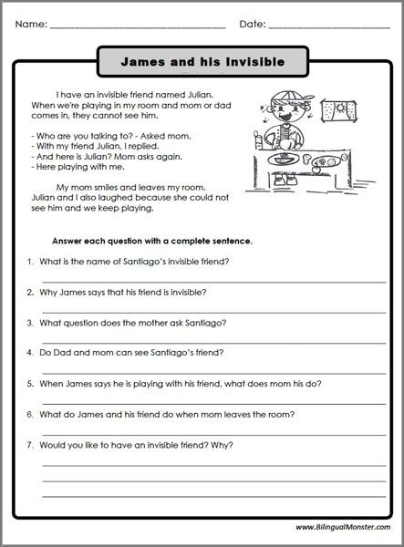 Reading Comprehension Worksheets 3rd Graders Reading