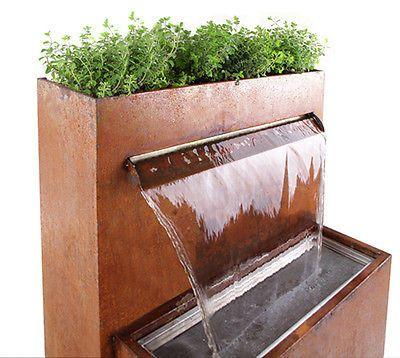 Details Zu Bepflanzbarer Wasserfallbrunnen Aus Cortenstahl Mit Led