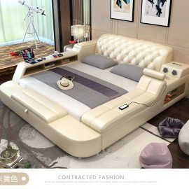 Genuine Leather Bed Frame With Magic Features With Images