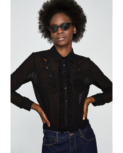 Embroidered Dotted Mesh Shirt New In Woman Zara United States Mesh Shirt Embroidered Shirt Shirts