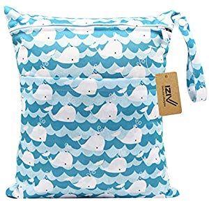 iZiv Baby Waterproof Reusable Wet Dry Bag Nappy Bag Waterproof Washable Hanging Large Diaper Bag Organizer Pouch Double Zipper Printing Diaper Bag Reusable Wet Suit Bag