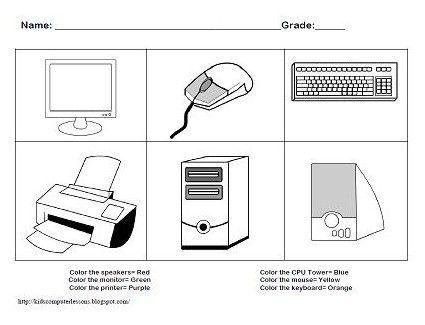Parts Of A Computer Worksheets For Kindergarten Computadora Para Ninos Clases De Computacion Computadora Para Colorear