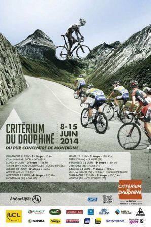 Affiche du Criterium du Dauphiné 2014 http://21virages.free.fr/blog/index.php?post/2014/01/06/Criterium-du-Dauphine-2014-rumeurs