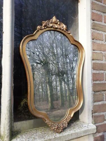 Oude Spiegel Zonder Lijst.Oude Antiek Vintage Houten Gouden Spiegel Kuifspiegel In