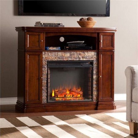 Bowery Hill 47 5 Faux Stone Fireplace Tv Stand In Brown
