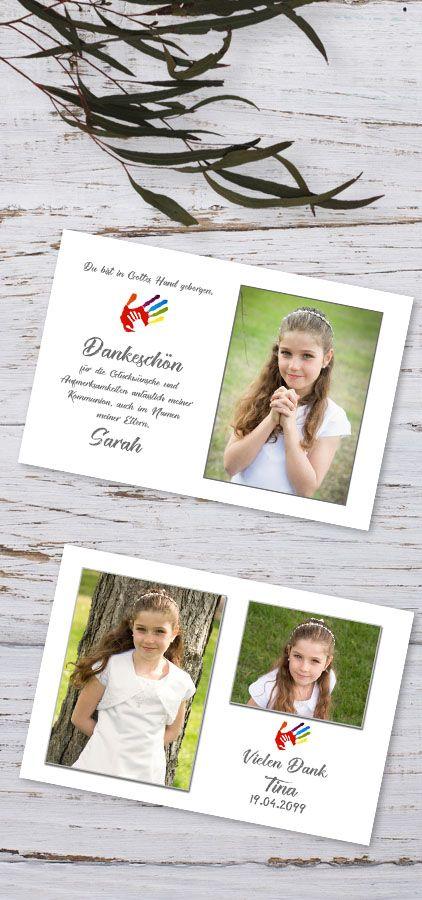 Danksagungen In Gottes Hand Erstkommunion Danksagungskarten
